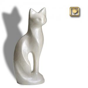 Pearlescent White Cat Cremation Urn