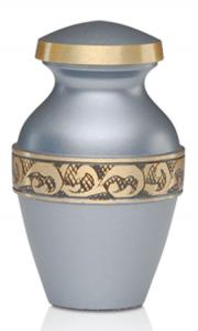 Silver Blue Brass Keepsake Cremation Urn