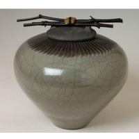 Feather Midori Raku Ceramic Cremation Urn