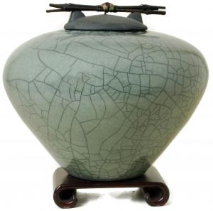 Sage Raku Ceramic Cremation Urn