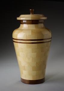 Peace Maple and Black Walnut Wood Cremation Urn