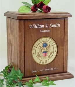 Army Recessed Medallion Chestnut Cremation Urn