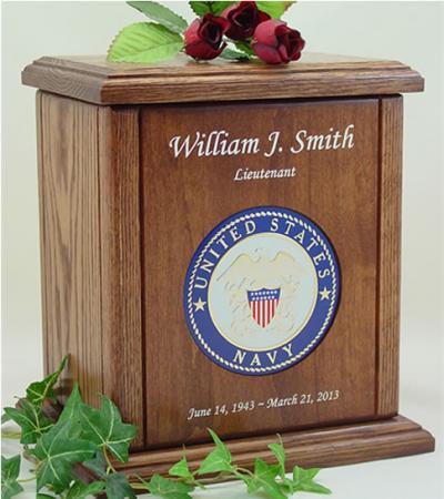 USN Recessed Medallion Chestnut Cremation Urn