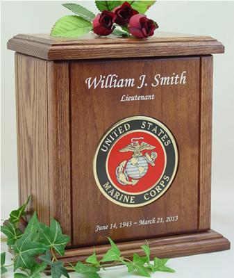 USMC Recessed Medallion Chestnut Cremation Urn