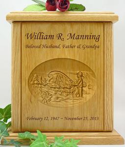 River Fishing Relief Carved Wood Cremation Urn
