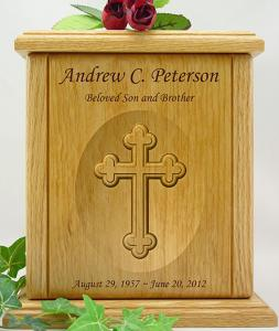 Cathedral Cross Relief Carved Wood Cremation Urn