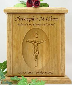 Crucifix Relief Carved Wood Cremation Urn