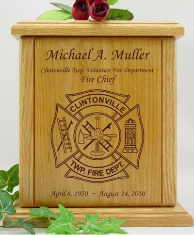 Fire Department Wood Cremation Urn
