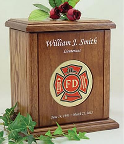 Fire Dept Recessed Medallion Chestnut Cremation Urn