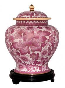 Pink Flowers Cloisonne Cremation Urn
