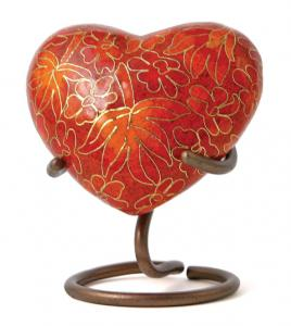 Etienne Autumn Leaves Heart Keepsake Cloisonne Cremation Urn