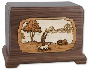 Hunter with Dog Wood Cremation Urn