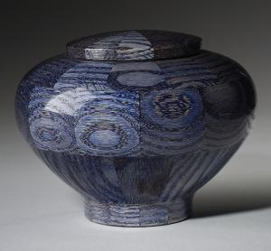Blue Wood Cremation Urn