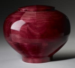 Peony Pink Wood Cremation Urn
