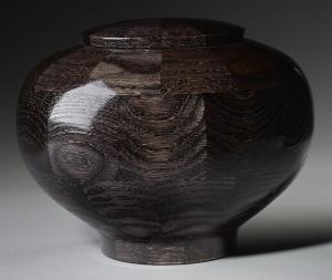 Peony Black Wood Cremation Urn