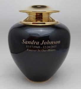 Satari Black and Gold Brass Cremation Urn