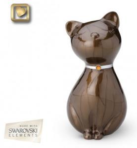 Jeweled Bronze Cat Cremation Urn