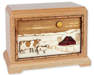 Dairy Farm Wood Cremation Urn