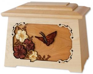 Butterfly Solid Wood Cremation Urn