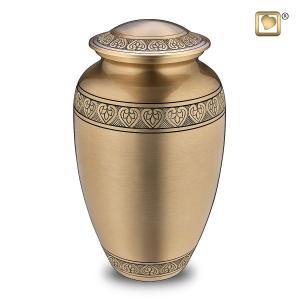 Adult Gold Etched Heart Cremation Urn