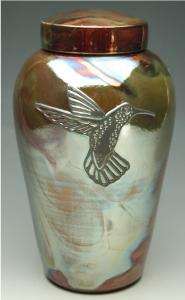 Hummingbird Raku Ceramic Cremation Urn