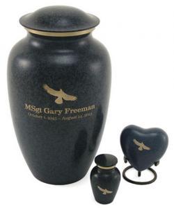 Dark Blue Granitone Brass Cremation Urn