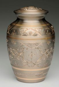 Medium Platinum and Gold Pet Cremation Urn