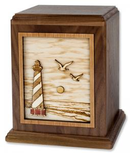 East Coast Lighthouse Wood Cremation Urn