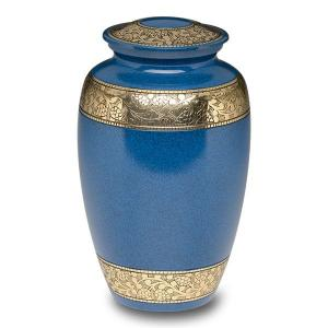 Blue w/Gold Bands Brass Cremation Urn