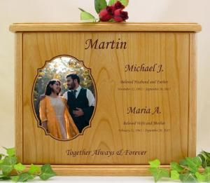 Companion Oval Photo Wood Cremation Urn