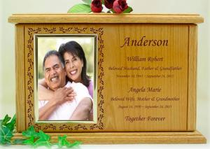 Companion Photo Border Wood Cremation Urn