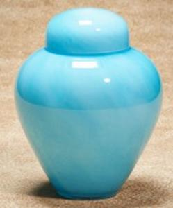 Aqua Moonlit Glass Cremation Urn