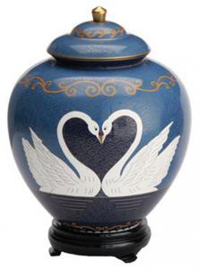 Swan Lake Companion Cloisonne Cremation Urn