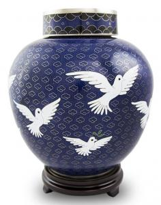 Going Home Companion Dove Cloisonne Cremation Urn