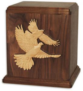 Love Birds Wood Cremation Urn