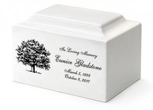 White Marble Cremation Urn Vault