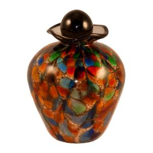 Small Bella Art Glass Urn - Autumn Colors