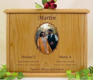 Companion Centered Photo Wood Cremation Urn