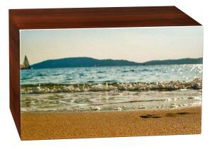 Wood Beach Scene Cremation Urn