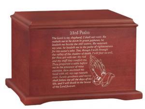 Coronet Psalm 23 Wood Cremation Urn