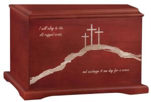 Crosses on Hill Wood Cremation Urn