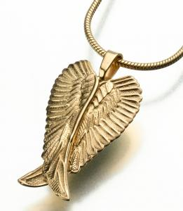 Angel Wings Gold Cremation Pendant