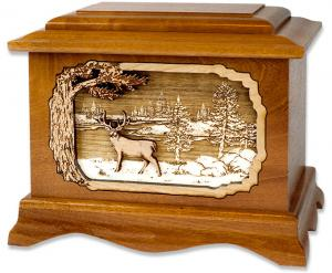 Deer and Lake Wooden Cremation Urn