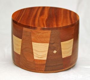 Round Mahogany with Walnut Wood Inlay Cremation Urn