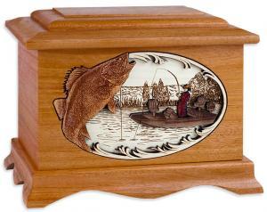 Walleye Fishing Wood Cremation Urn