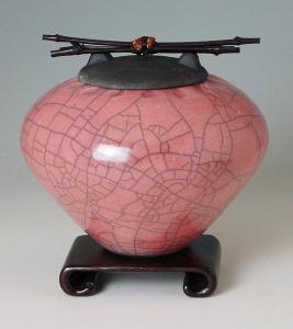 Rose Raku Ceramic Cremation Urn