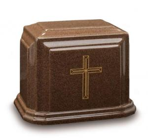 Beveled Cross Cultured Granite Cremation Urn