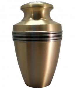Brass Cremation Urn Black and Silver Band