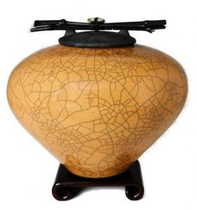 Kaki Raku Ceramic Cremation Urn