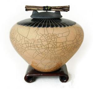Kaki Raku Ceramic Cremation Urn with Feathering